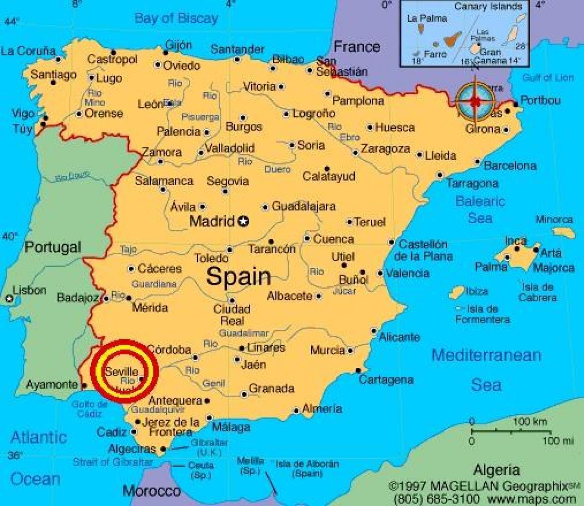 Sevilla Espanjassa Kartta Sevilla Espana Kartta Andalusia Espanja